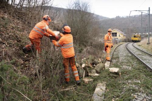 Les employés des CFF restaurent une voie à Moutier dans le Jura Bernois.
